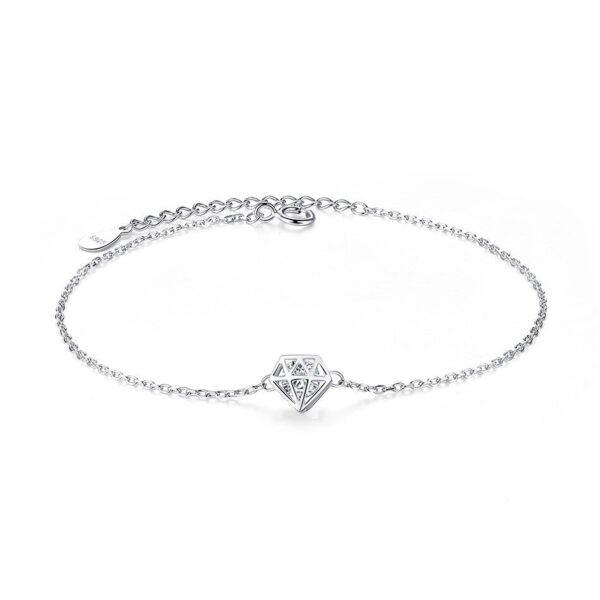Bracelet argent et sa cage en forme de diamant
