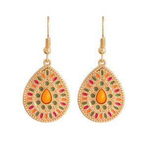 boucles d'oreilles pendantes ethniques orange