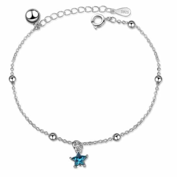 bracelet étoile bleue en argent