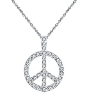 collier peace and love en argent