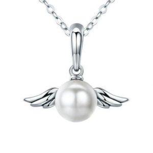collier perle blanche aux ailes d'ange