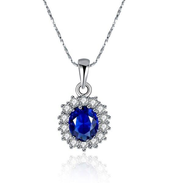 collier pierre bleue et cristaux blancs