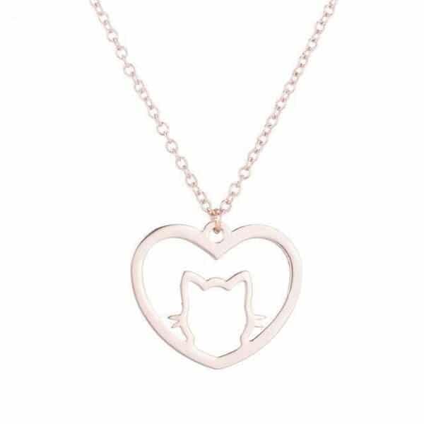 pendentif chat dans un coeur