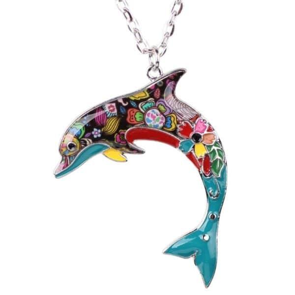 pendentif dauphin multicolore