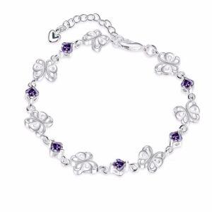 Bracelet papillons et cristaux violets