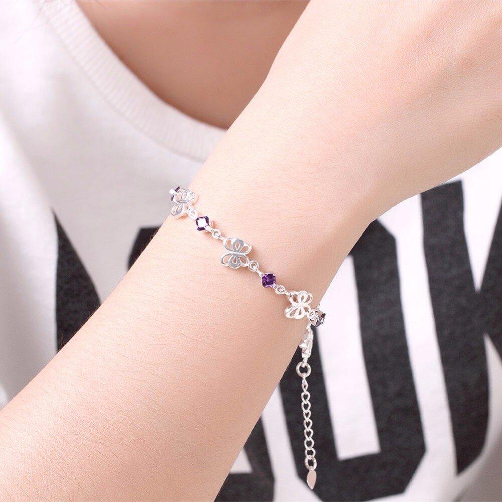 Bracelet pas cher papillons et cristaux violets