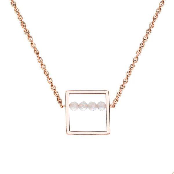 Collier original pendentif carré 4 pierres naturelles blanches