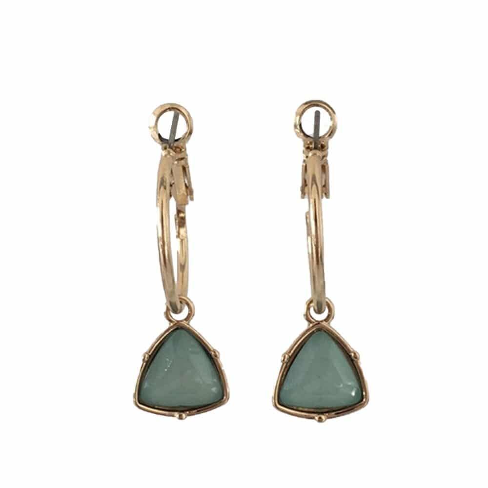 boucles d'oreilles style vintage imitation pierre jade