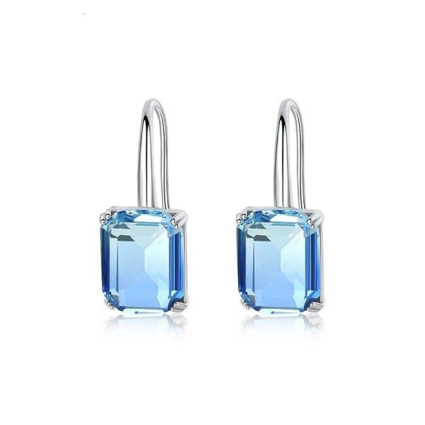 boucles d'oreilles pierre bleue imitation topaze