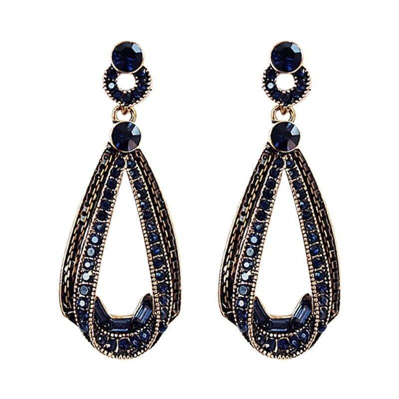 pendantes classe cristaux couleur bleu saphir et dorures