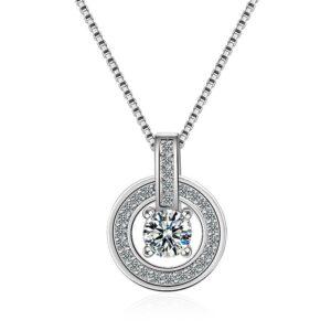 pendentif élégant en argent et son cristal scintillant