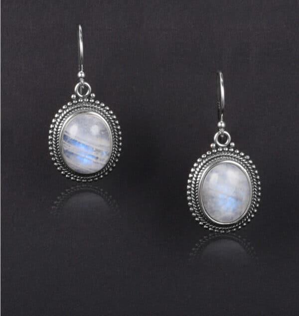 boucles d'oreilles pierre de lune et argent pas cher