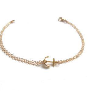 bracelet doré ancre marine