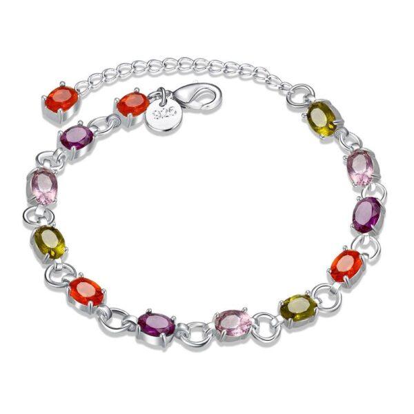 bracelet en argent de cristaux multicouleur