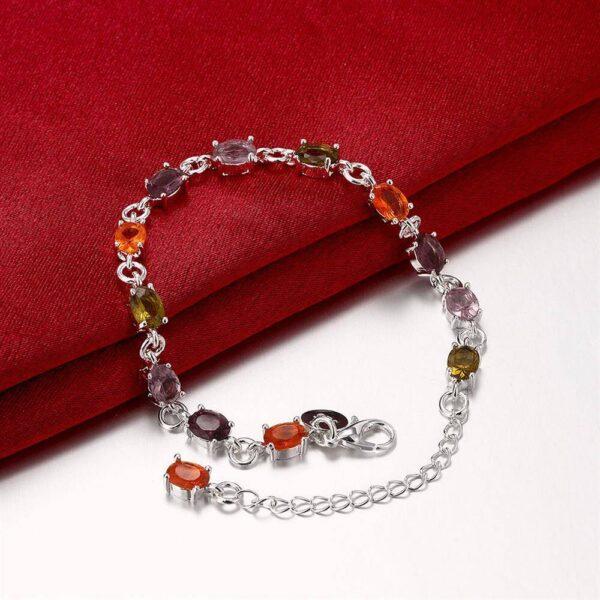 bracelet en argent femme de cristaux multicouleur
