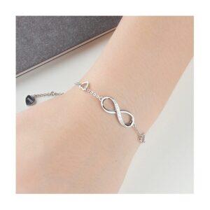 bracelet infini et 3 coeurs en argent