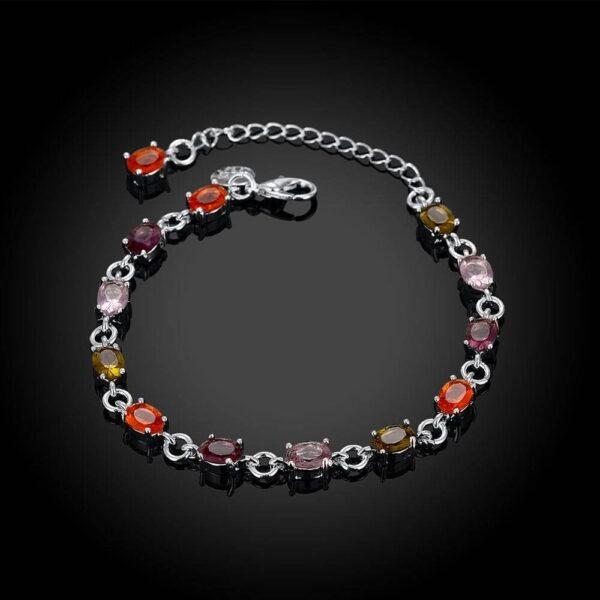 bracelet pas cher en argent de cristaux multicouleur