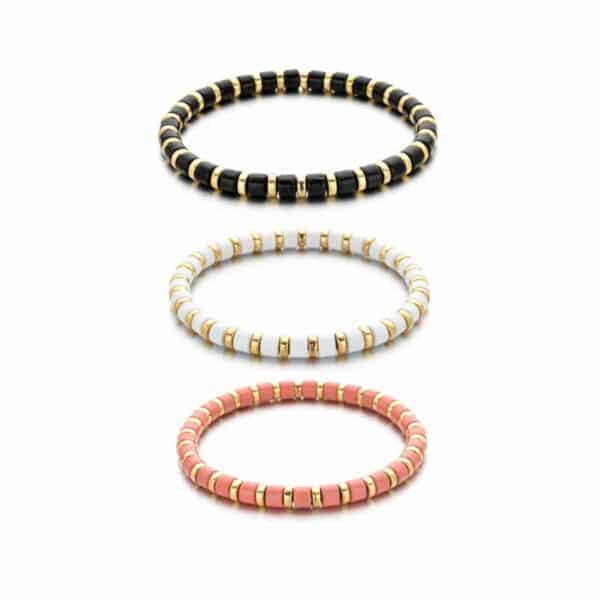 bracelet perles et anneaux dorés