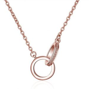 collier 2 anneaux or rose