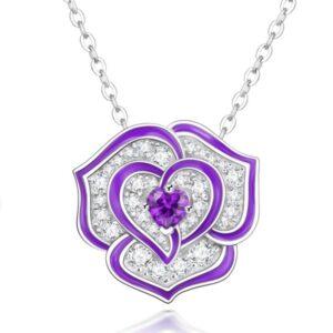 pendentif fleur rose violette et cristaux blancs