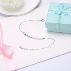 bracelet argent barre ondulée 4 cristaux