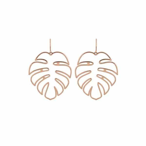 grandes boucles d'oreilles feuille de palmier tropical