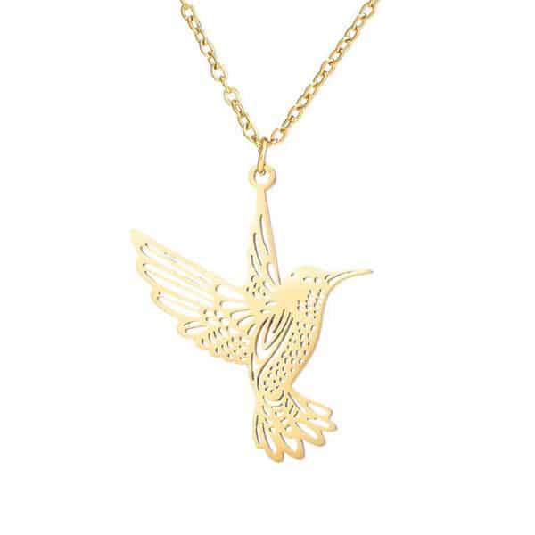 pendentif colibri doré