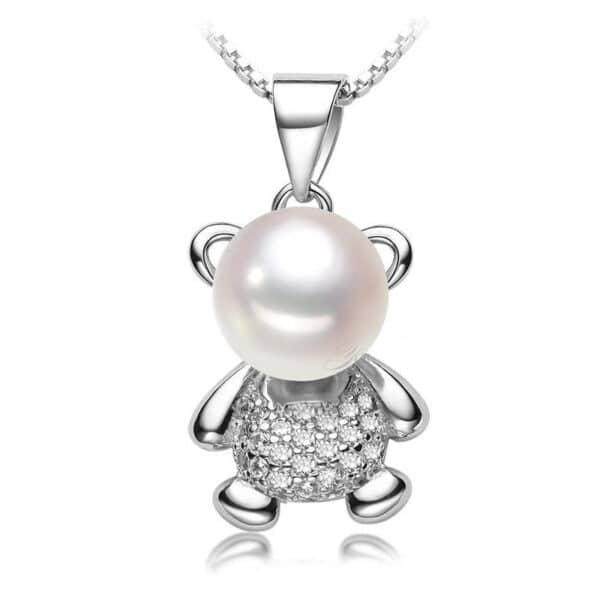 pendentif ourson argent et perle blanche