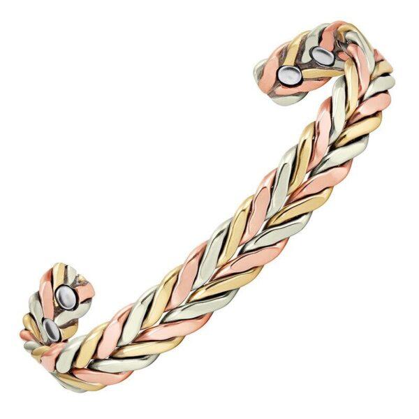 bracelet en cuivre aux tons argent or et or rose