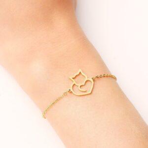 bracelet fantaisie chat doré
