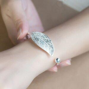 bracelet jonc feuille pas cher