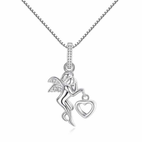 pendentif ange en argent avec coeur