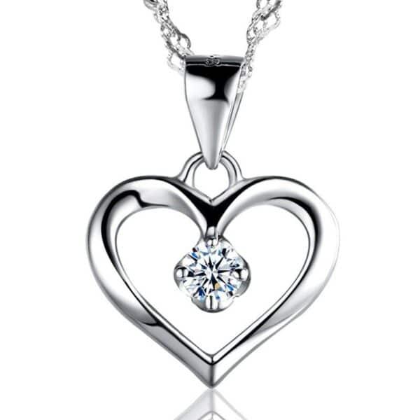 pendentif coeur en argent pas cher avec cristal blanc