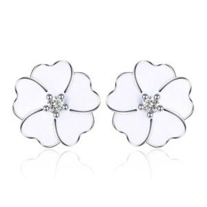 Boucles d'oreilles en argent trèfle émaillé de blanc