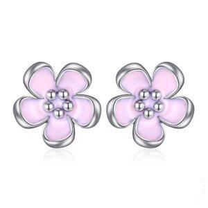 Boucles d'oreilles fleur en argent aux pétales couleur lavande