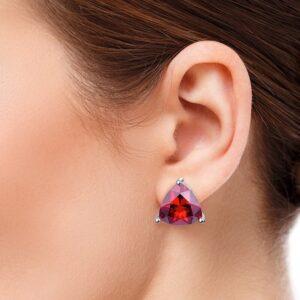 Boucles d'oreilles grenat femme