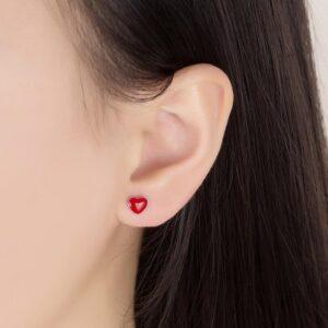 boucles d'oreilles coeur rouge monture argent