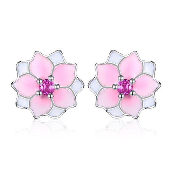 boucles d'oreilles fleur de magnolia argent émail