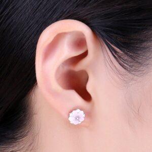 boucles d'oreilles fleur de magnolia argent pas cher