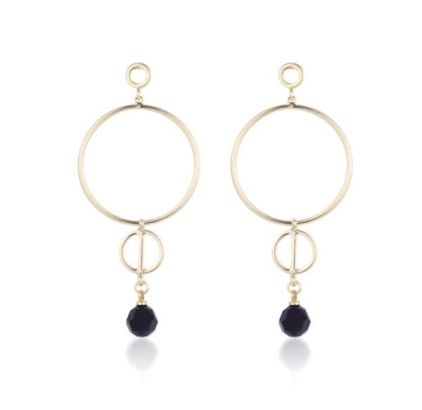 boucles d'oreilles pendantes dorées cercles et pierre noire