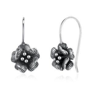 boucles d'oreilles vintage fleur en argent vieilli