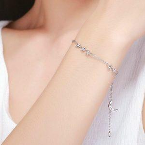 bracelet étoiles et lune en argent. pas. cher
