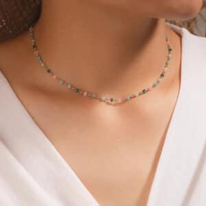 collier fantaisie pierres turquoise