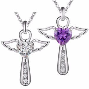 pendentif ange stylisé pierre blanche ou violette
