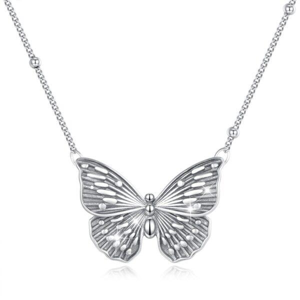 collier papillon argent massif