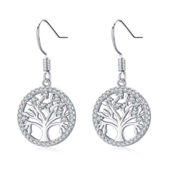 boucles d'oreilles pendantes arbre de vie en argent