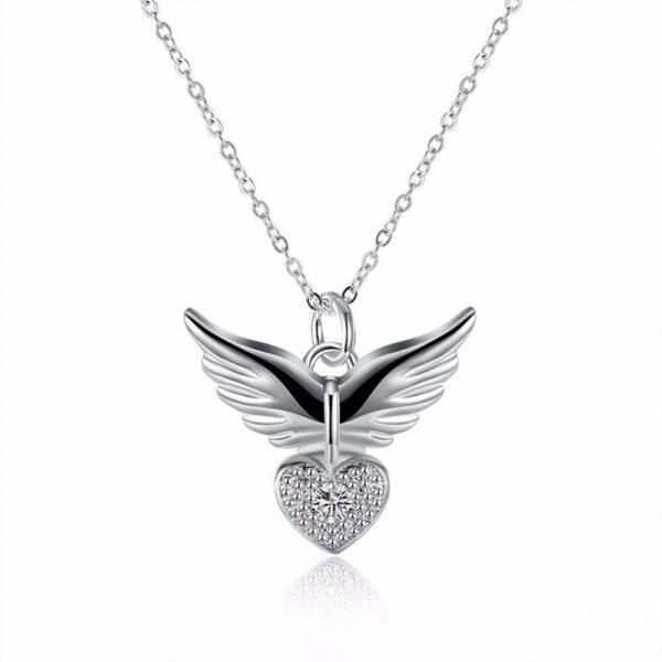 pendentif ailes d'ange et coeur
