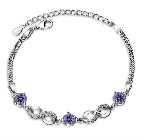 bracelet infini pas cher cristaux violets