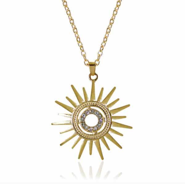 collier soleil doré et cristaux femme