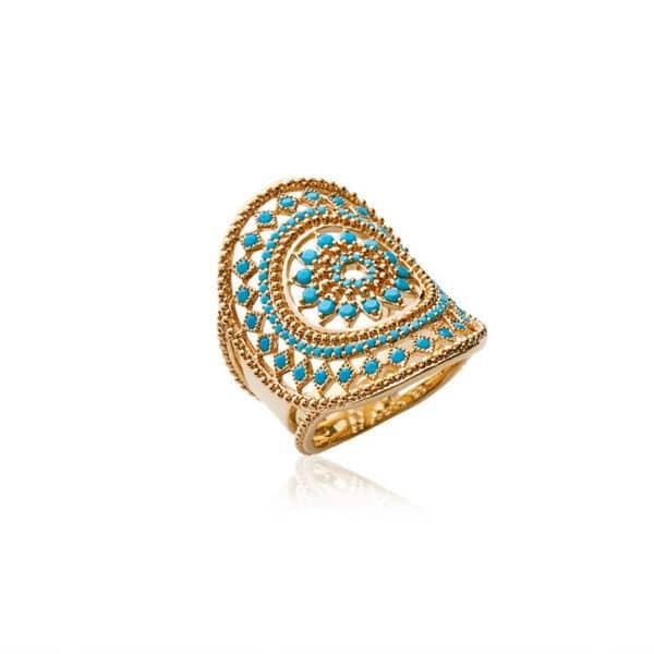 Bague ethnique turquoise plaqué or femme